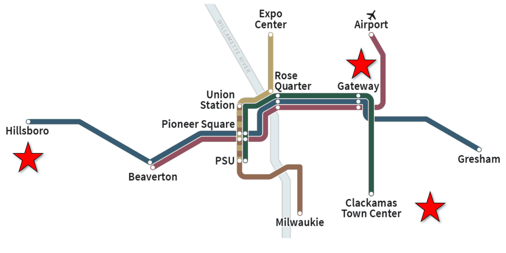 Trimet Max line Map in background with location of property purchases